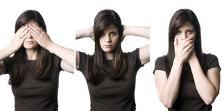 See, Hear, Speak No Evil. A young woman indicating the popular phrase, See no evil, hear no evil, speak no evil stock photo