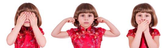 See, Hear and Speak No Evil. Pretty little girl: no see, no hear, no speak stock photo