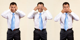 See, hear, speak no evil royalty free stock photos