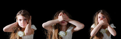 See, hear, speak no evil. Little girl showing a proverb Hear No Evil, See No Evil, Speak No Evil royalty free stock photos