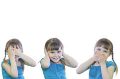 See, hear, speak no evil. Little girl showing a proverb Hear No Evil, See No Evil, Speak No Evil royalty free stock images
