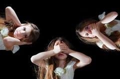 See, hear, speak no evil. Little girl showing a proverb Hear No Evil, See No Evil, Speak No Evil stock image