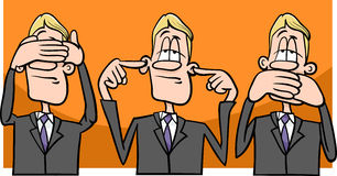 See hear speak no evil. Cartoon Humor Concept Illustration of See no Evil Hear no Evil Speak no Evil Saying or Proverb Stock Photography