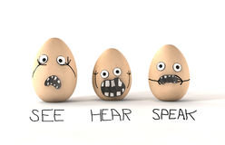 See Hear Speak No Evil Eggs. 3 made up eggs with human emotion that are dsplaying the philosophy of see no evil, hear no evil and speak no evil Stock Photos