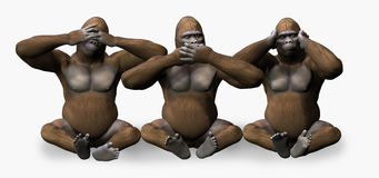 See, Hear, Speak No Evil - Includes Clipping Path Royalty Free Stock Photo