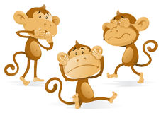 See Hear Speak No Evil Monkeys. Illustration of three wise Monkeys acting out the age old saying and proverb of See no Evil Hear no Evil and Speak no Evil Royalty Free Stock Photo