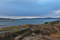Iceland scenic. Mountains and sea view from Thingvellir National Park, Iceland Stock Photo