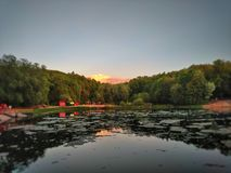 See im Sonnenuntergang Stockfotografie