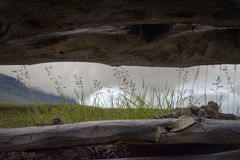 See through from inside the Sami hut in Sarek, funny perspective stock photos