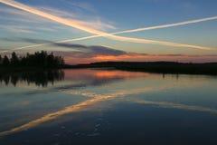 See in Kareliya Russland oughts und Kreuze Lizenzfreie Stockbilder
