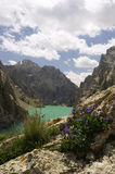 See Kelsu. Kirgistan. Ansicht von den Felsen. Stockbilder