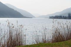 See Lago-Di Lugano, die Schweiz, mit trockenen Schilfen und Bergen Stockfotos