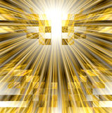 See the light. Abstract conceptual design in golden tones with rays of light bursts among a mosaic of cube boxes Stock Images