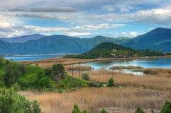 See Mala Prespa und Insel Heiliges Achilleus/Insel von Agios Achilleios/ Stockbilder