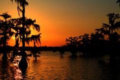 See Martin Golden Sunset in Süd-Louisiana lizenzfreies stockfoto