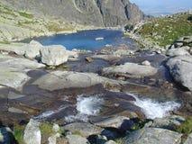 See mit kleinem Wasserfall. Lizenzfreie Stockbilder