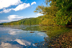 See mit Reflexion im Herbst Stockbilder