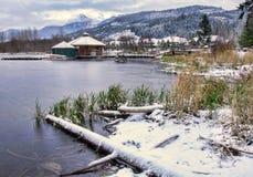 See mit Schnee entlang Ufer Lizenzfreies Stockbild