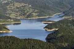 See mit umgebendem Wald Lizenzfreie Stockbilder