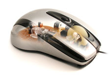 See through mouse. Transparent view of an optical mouse Stock Images