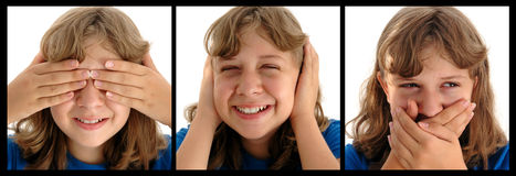 See No Evil. Funny faced adolescent girl doing See no evil, hear no evil, speak no evil... photographed on a white background stock photos