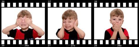 See no evil, hear no evil, speak no evil. Hear no evil, see no evil and speak no evil, boy isolated on white background Stock Photos