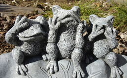 See no Evil, Hear no Evil, Speak no Evil. Whimsical garden frogs displaying classic aphorism Royalty Free Stock Photography