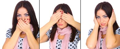 See no evil hear no evil speak no evil Royalty Free Stock Photo