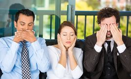 See no evil, hear no evil, speak no evil, 2 people Stock Photos