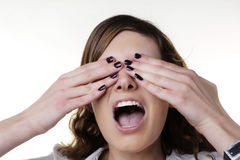See no evil hear no evil speak no evil. Woman doing one of the expression from the Three Wise Monkeys idea Stock Photography