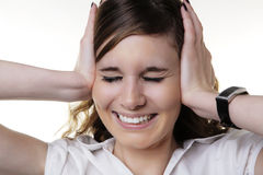 See no evil hear no evil speak no evil. Woman doing one of the expression from the Three Wise Monkeys idea Stock Photos