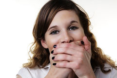 See no evil hear no evil speak no evil. Woman doing one of the expression from the Three Wise Monkeys idea Royalty Free Stock Photos