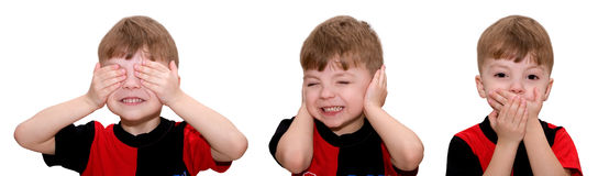 SEE NO EVIL, HEAR NO EVIL, SPEAK NO EVIL. Hear no evil, see no evil and speak no evil, boy isolated on white background Stock Image
