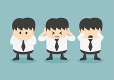 See no evil, hear no evil, speak no evil. Cartoons concepts Stock Photos