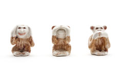 See no evil, hear no evil, speak no evil, Closing Ear, Eyes, Mouth Royalty Free Stock Image