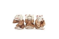 See no evil, hear no evil, speak no evil, Closing Ear, Eyes, Mouth Stock Photo