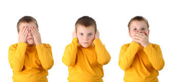 See no evil hear no evil speak no evil isolated Royalty Free Stock Photos