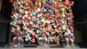 See no evil, hear no evil, speak no evil. Kyoto Shrine, three wise apes Stock Photos