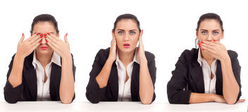 See No Evil, Hear No Evil, Speak No Evil poses. Stock Image