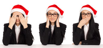 See No Evil, Hear No Evil, Speak No Evil poses. Stock Photography