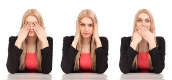 See No Evil, Hear No Evil, Speak No Evil poses. Royalty Free Stock Photography