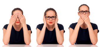 See No Evil, Hear No Evil, Speak No Evil poses. Royalty Free Stock Image