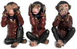 See no Evil Hear no Evil Speak no Evil. Three figurines represent the proverb of the three wise monkeys (chimpanzees? )on white background Royalty Free Stock Images