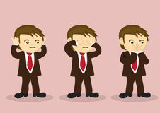 See No Evil Hear No Evil Speak No Evil Vector Cartoon Boy Charac. Cartoon boy character in business suit using hands to cover his mouth, eyes and mouth. Vector Royalty Free Stock Image