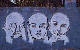 See No Evil, Hear No Evil, Speak No Evil. Street Art Wall Painting in Blue -- See No Evil, Hear No Evil, Speak No Evil stock image