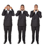 See No Evil poses - African American businessman Stock Image