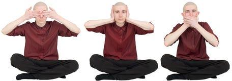 See no evil, say no evil, hear no evil. Three funny men Royalty Free Stock Images