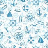 See- oder themenorientiertes nahtloses Marinemuster Stockbild