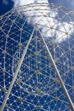 The Rise spheres sculpture in Belfast. See through perspective on The Rise metalic sculpture in Belfast Stock Image