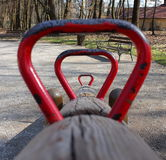 See saw. View through wooden see saw handles stock photography